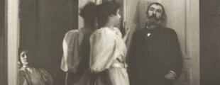 Едгар Дега 48 Портрет Анри Лерола и његових кћери, Ивон и Кристин, у огледалу, 1895-1896