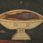 Риба на чинији из Тајне вечере, детаљ, око 1260, Пећ, св. Апостоли, НМБ