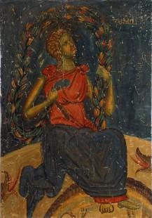 Страшни суд, Персонификација земље, детаљ, Богородица Љевишка