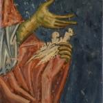 Сретење, детаљ, грлице у Јосифовим рукама, Богородица Љевишка