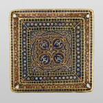Плочица са орнаментом, Манастир Хиландар, 11. век, злато, емаљ
