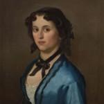 Ђура Јакшић, Девојка у плавом, 1856. уље на платну каширано на дасци, 62 х 51 cm