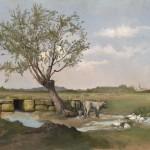 Милош Тенековић, Предео са кравама, око 1877. уље на платну каширано на дасци, 42 х 65 cm
