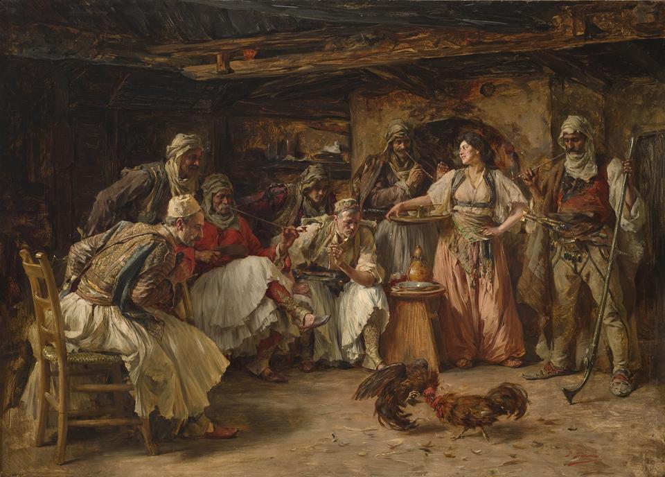Паја Јовановић, Борба петлова, 1898. уље на дасци, 55 х 76 cm