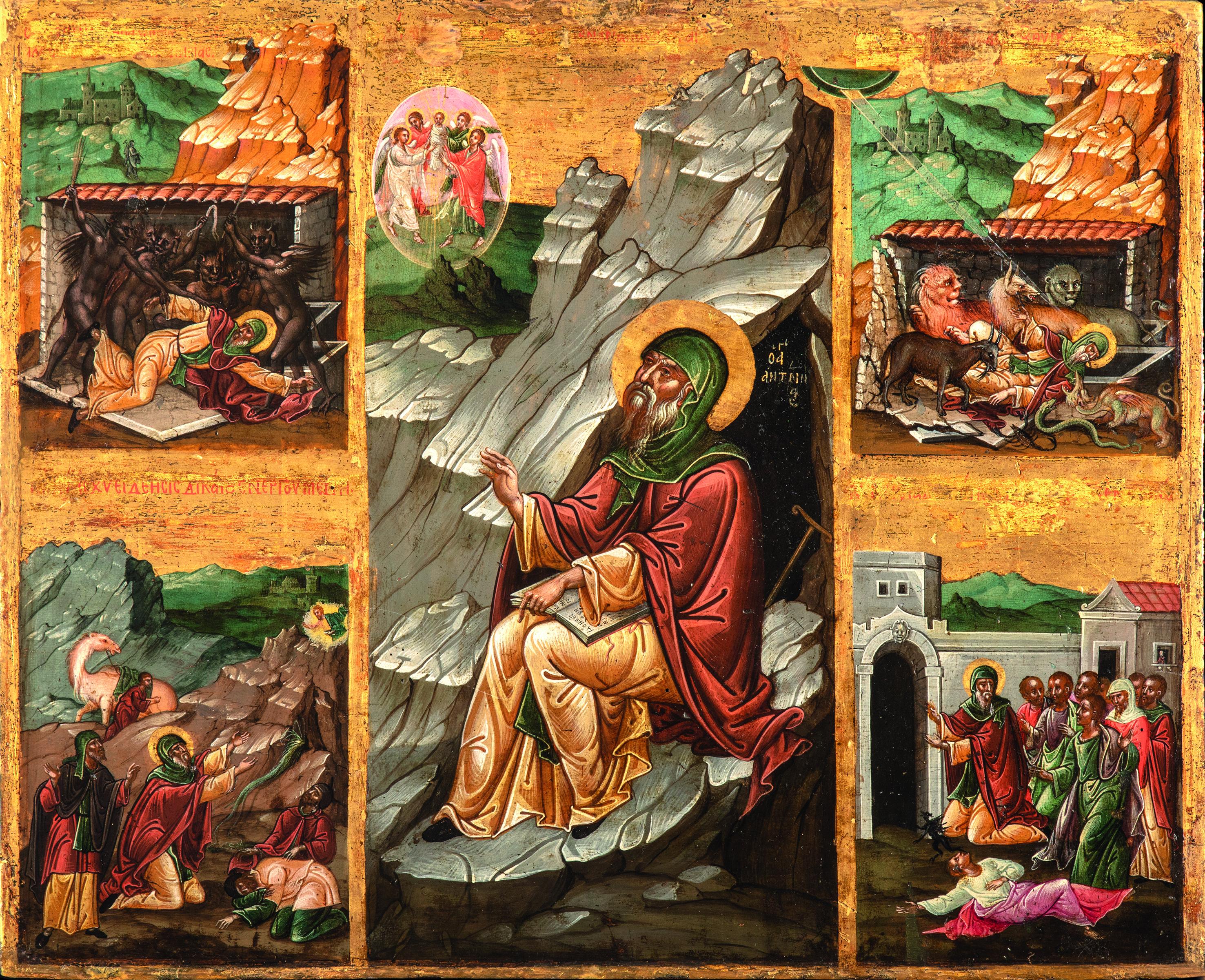 Sveti Antonije Veliki i scene iz žitija, druga polovina XVI veka, Modriča